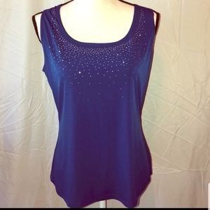 Dress Barn royal blue tank top w/silver sparkles